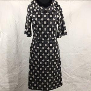 Milly New York Wool A Line Dress Sz M Black Gray